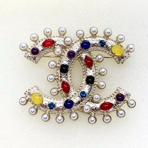 Chanel Large Pearl Gems Stone CC Pin Brooch